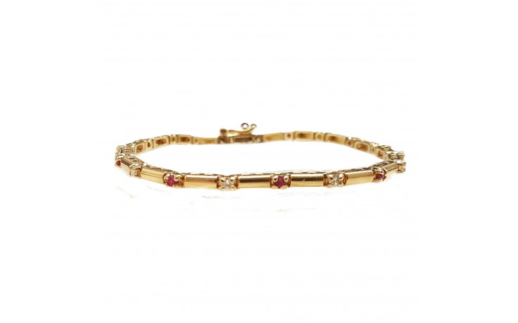 14K Yellow Gold Diamond And Ruby Space Bracelet